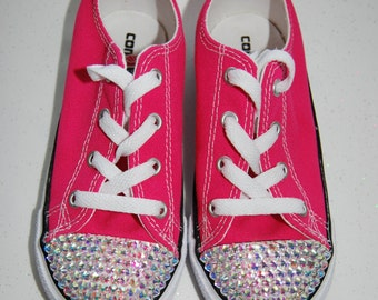 I-10 Infant / Girls' hot pink low top Converse with AB rhinestones