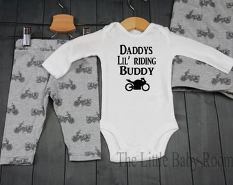 Baby Boy Coming Home Outfit,Go,Hospital set,Newborn Leggings Hat,Daddys Riding Buddy,Personalized Onesie,Motorcycle Leggings,Motorcycle,Gift