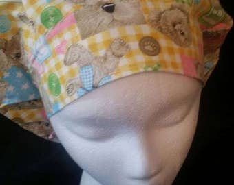 Teddy Bear Bouffant Surgical Scrub Hat With Banded Front & Toggled Back