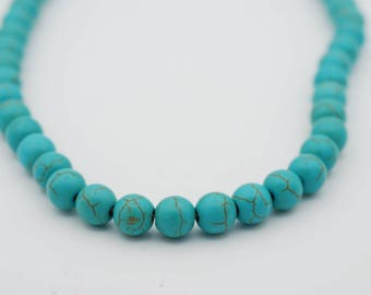 """Smooth Round Shape Turquoise Howlite bead, 15.5"""" long available in two sizes"""