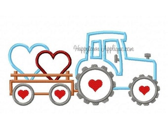 Personalized Valentine's Tractor with Hearts  Applique Shirt or Onesie Girl or Boy