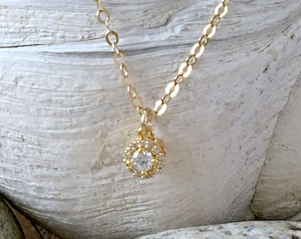 14k gold filled cz choker solitaire necklace tiny cz diamond cz choker cubic zirconia necklace minimalist jewelry bridesmaids necklaces gift