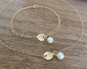 Sand dollar Choker & Bracelet Set,14k gold filled Mother Daughter Pearl Necklace,Sand dollar Bracelet,Sand dollar,Pearl,Beach Jewelry,bridal