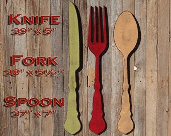 Fork Wall Decor Fork And Spoon Decor Farmhouse Home Decor Large Fork And Spoon Spoon Wall Decor Fork And Spoon Art Fork Spoon Knife Kitchen