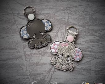 Baby Elephants - BOY and GIRL Included - Snap Tab - Key Fob - Embroidery Design -   DIGITAL Embroidery Design