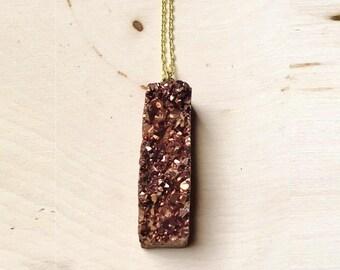 Brown Druzy Bar  Necklace