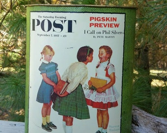 Metal Trash Can Norman Rockwell Saturday Evening Post