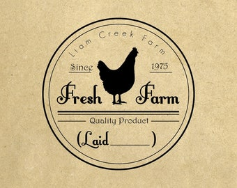Fresh Farm Eggs stamp Custom rubber stamp Chicken & flower Just Laid Handmade By Family Name  Coop Laurel Rubber Stamp Pre-inked Stamp R651