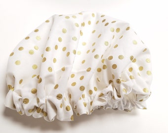 White and Gold Baby Satin Bonnet, Baby Bonnet, Satin Lined Sleep Cap, 3-12 months