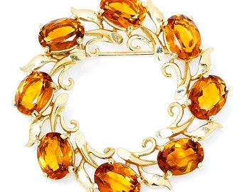 Vintage Citrine Circle Brooch Pin in 14kt Yellow Gold 8.00ctw November Birthstone