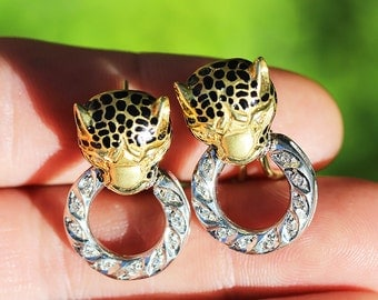 Vintage Cheetah French Clip Earrings with Diamonds in 14kt Two Tone Gold .12ctw