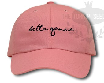 Delta Gamma Handwriting Script Sorority Baseball Cap - Custom Color Hat and Embroidery