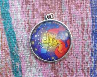Finn/Flame Princess Pendant Necklace - Upcycled Adventure Time Comic