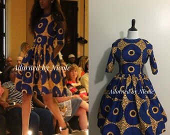 African Print Dress: Blue Circles with Yellow and Black background