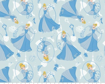 Cinderella Fabric, Disney Princess, Fabric by the Yard, by the Half Yard, Fat Quarter, Light Blue, Tonal, Disney Fabric, Camelot Fabrics