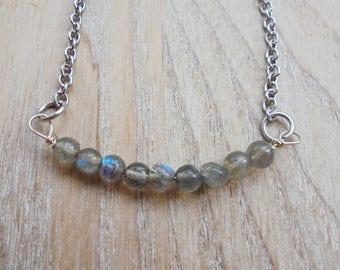 Minimalist Deep Blue Labradorite Necklace
