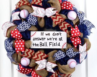 Baseball wreath - Ball Field wreath - Softball wreath  - Baseball mom gift - Ballfield wreath - baseball decor - sports wreath -sports decor