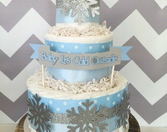 Baby it's Cold Outside Diaper Cake for Boys, Winter Baby Shower Centerpiece in Blue and Silver