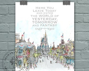 Main Street USA Disney World with Quote Wall art and gift prints. Prints taken from my drawing & watercolour painting. Magic Kingdom drawing