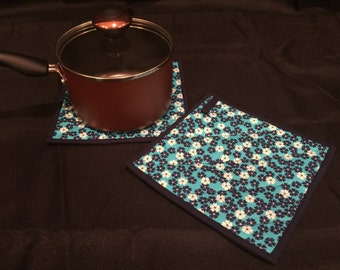 Navy Blue Floral Quilted, Insulated Pot Holder Set