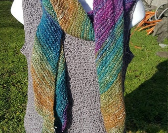Super soft knit scarf, wrap scarf holiday gift, woman scarf, scarves and wraps, metallic thread, prism
