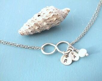 Personalised Infinity Bracelet, Sterling Silver Infinity Bracelet, Infinity Initial Bracelet With Fresh Water Pearl, Bridesmaid Bracelet