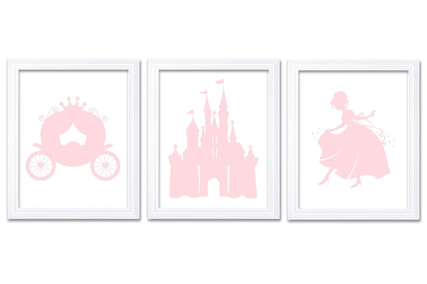 Light Pink White Princess Nursery Art Set of 3 Prints Child Art Kids Room Wall Art Baby Girl Decor B