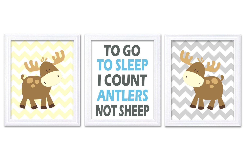 Moose Nursery Art Prints Set of 3 To Go To Sleep Count Antlers Blue Grey Yellow Chevron Baby Boy Kid