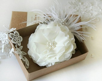 Bridal Hair Clip -Flower Hair Clip -Ivory Flower Hair Accessory