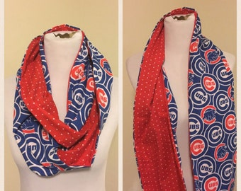 Cubs scarf, Chicago cubs and red polka dot scarf