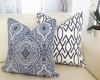 Blue and White Damask Cushion Covers, Hampton's Style Pillows, Decorative Pillow, Cushion Cover, Coastal