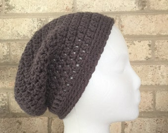 Ready To Ship Slouchy Hat Dark Gray Graphite Slouchy Beanie  Crochet Hat Beanie Women's Crochet Hat Accessories Gifts For Her