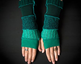 Warm  pixie gloves/ armwarmers made from upcycled material katwise inspired