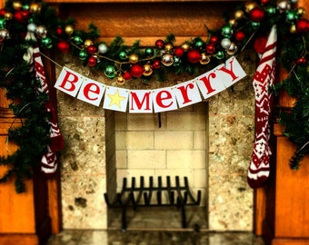 Christmas Banner - Be Merry Sign - Merry Christmas banner - Photo Prop - Holiday Decor - Christmas Decor - Gold Star Family Photos