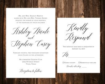 Elegant Wedding Invitations; Black & White; Calligraphy; Printable OR set of 25