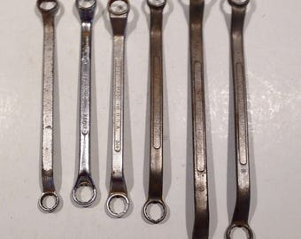 SET OF 6, vintage, double ended wrenches