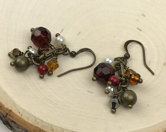 Cluster Earrings with Red, Mauve, White with Antique Wires #1129
