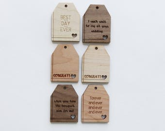 Wood Gift Tags - Pack of 6 - Assorted - Gift Tags