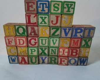 Set of 40 wooden blocks