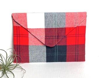 Plaid Flannel Envelope Clutch Evening  Bag American Flag Colors