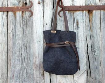 Daily Bag, Black Tote Bag,  Black Handbag,  Black Bag,  Shoulder Bag, Fabric bag