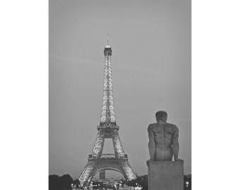 Eiffel Tower Photo - Photography of the Eiffel Tower in the City of Paris, France. Black and White Photograph Print on Canvas or Paper