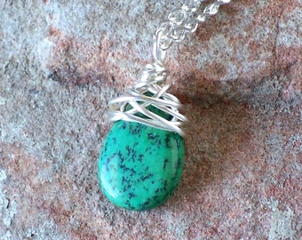 Wire Wrapped African Turquoise Pendant Necklace, Silver Boho Turquoise Necklace