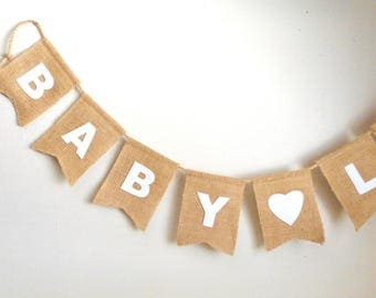 Baby Shower Burlap Banner, Party decor, New Baby, Name Banner, Baby Boy, Baby Girl Announcement, Burlap flags, pennants, Decorations