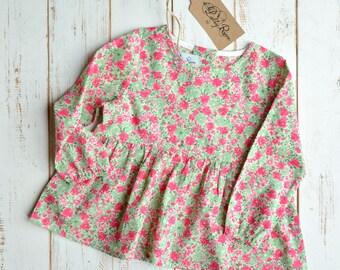 Long Sleeve Shirt Flower Print Cotton Green/Fuchsia