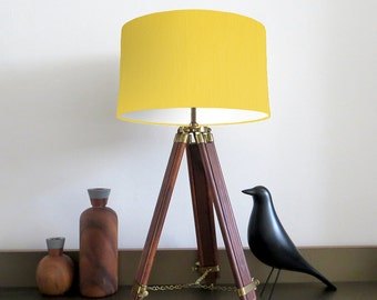 Bespoke Lemon Yellow Drum lampshade with White Lining