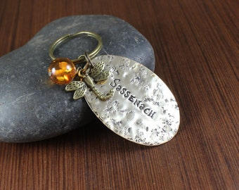 Sassenach ~ Dragonfly and Amber ~  brass keychain ~ Outlander inspired