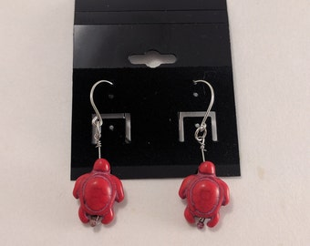 Red Turtle Dangle Earrings