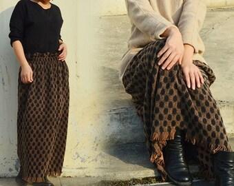 550---Women's Jacquard Tussah Silk Fringed Skirt, Made to Order.