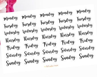 Days of the Week Monday, Tuesday, Wednesday, Thursday, Friday, Saturday and Sunday Stickers for your Planner, Scrapbook and Stationery